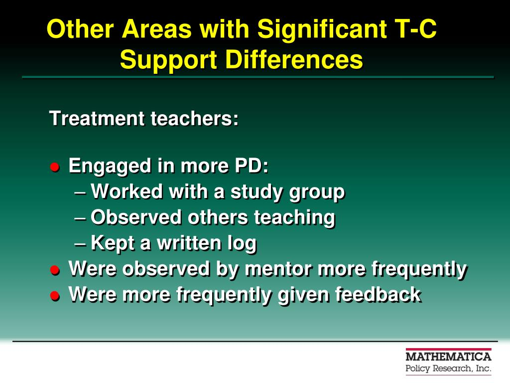 Other Areas with Significant T-C Support Differences
