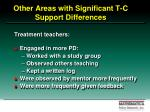 other areas with significant t c support differences