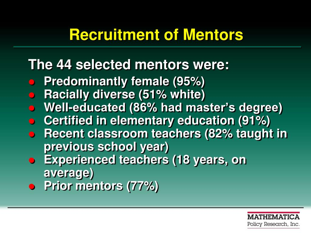 Recruitment of Mentors