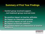 summary of first year findings