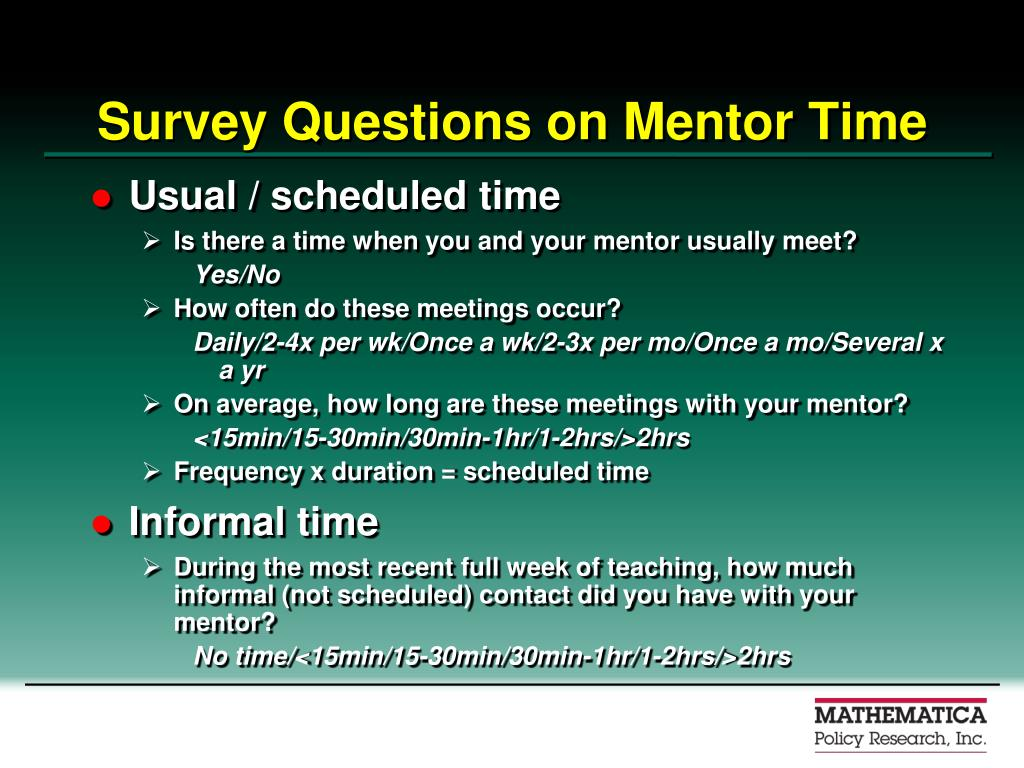 Survey Questions on Mentor Time