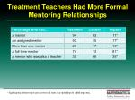 treatment teachers had more formal mentoring relationships