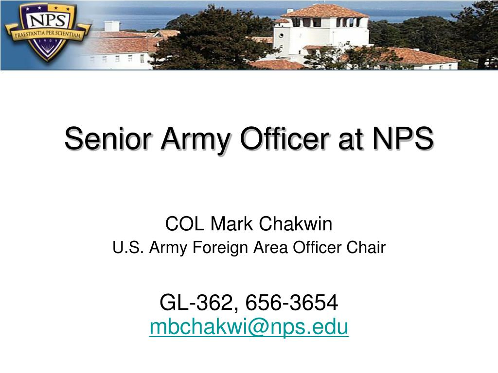 Senior Army Officer at NPS