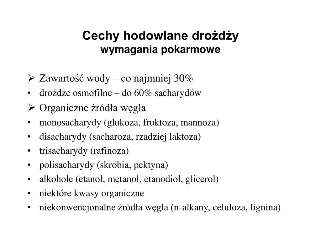 Cechy hodowlane drożdży