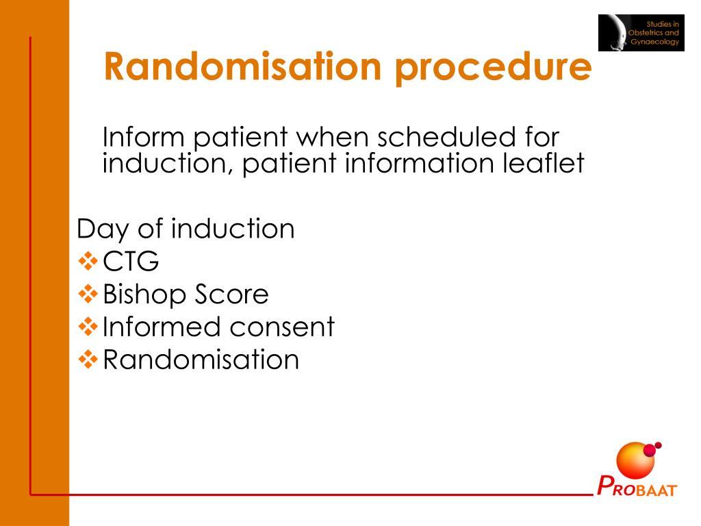 Randomisation procedure