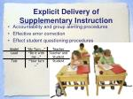 explicit delivery of supplementary instruction