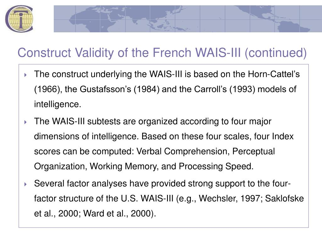 Construct Validity of the French WAIS-III (continued)