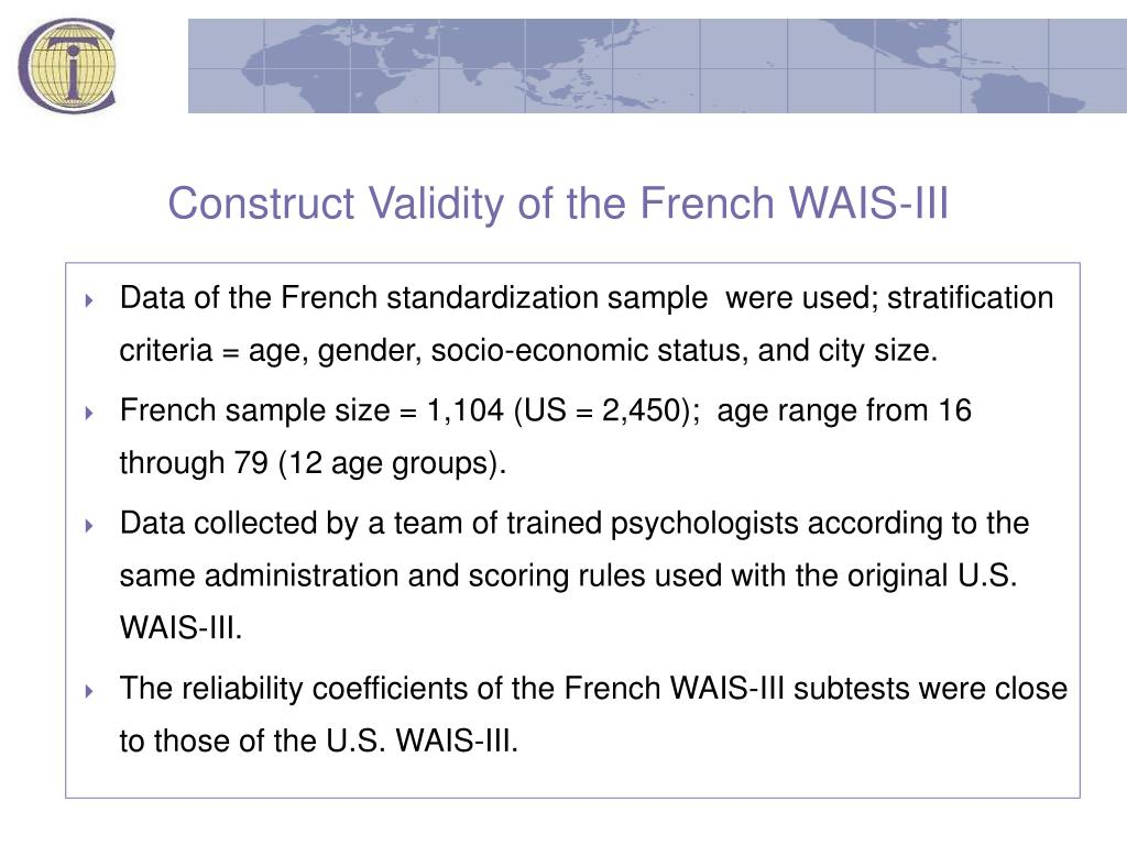 Construct Validity of the French WAIS-III