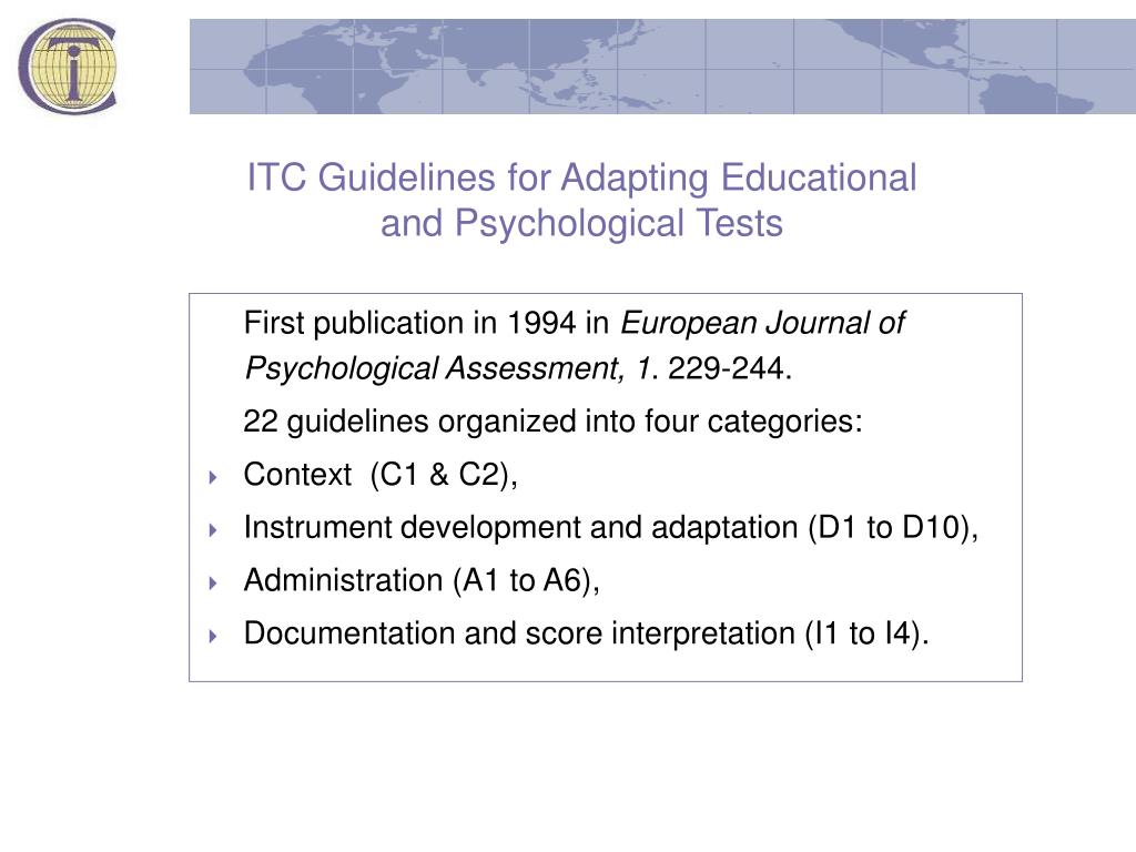 ITC Guidelines for Adapting Educational and Psychological Tests