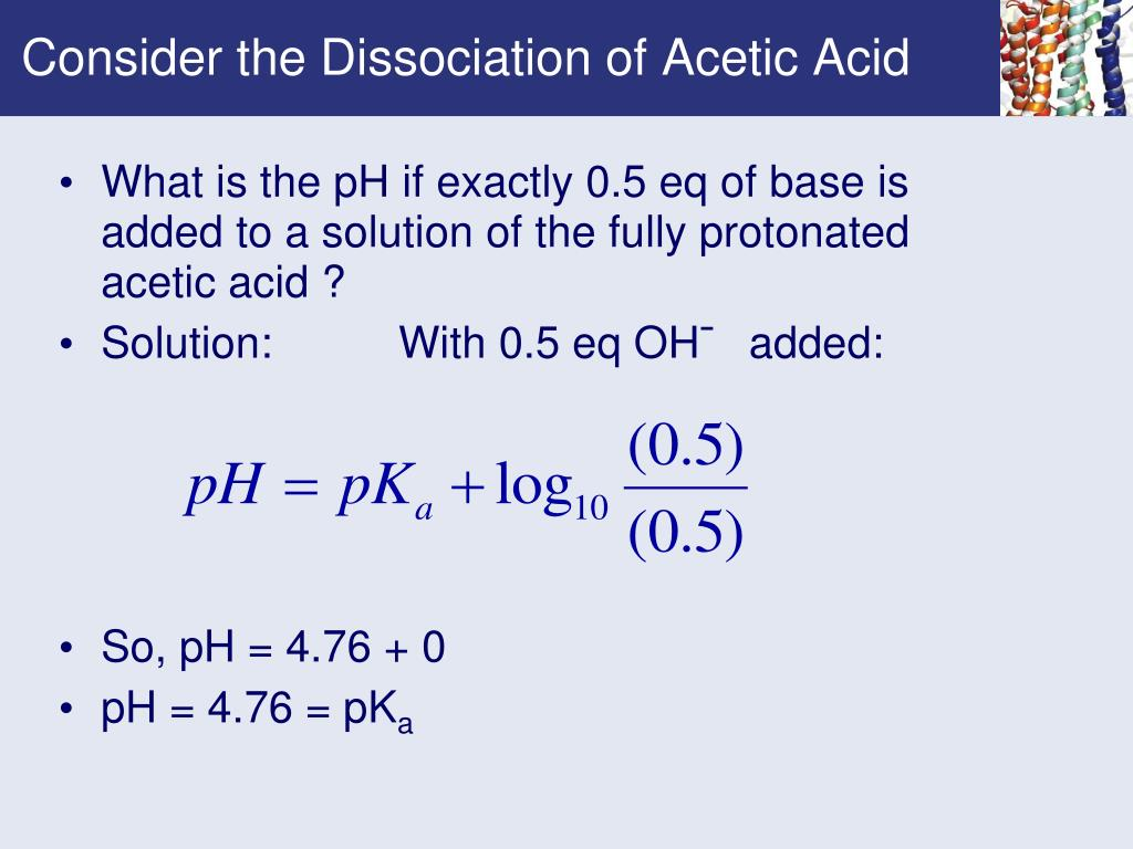 Consider the Dissociation of Acetic Acid