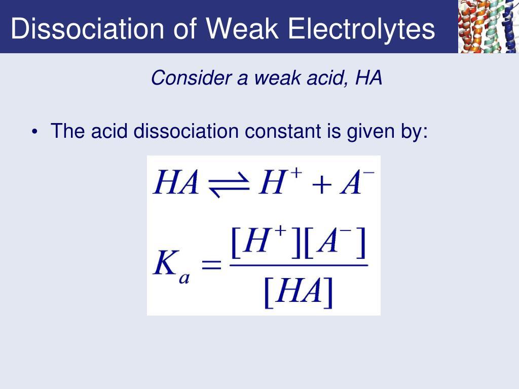 Dissociation of Weak Electrolytes
