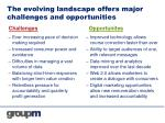 the evolving landscape offers major challenges and opportunities