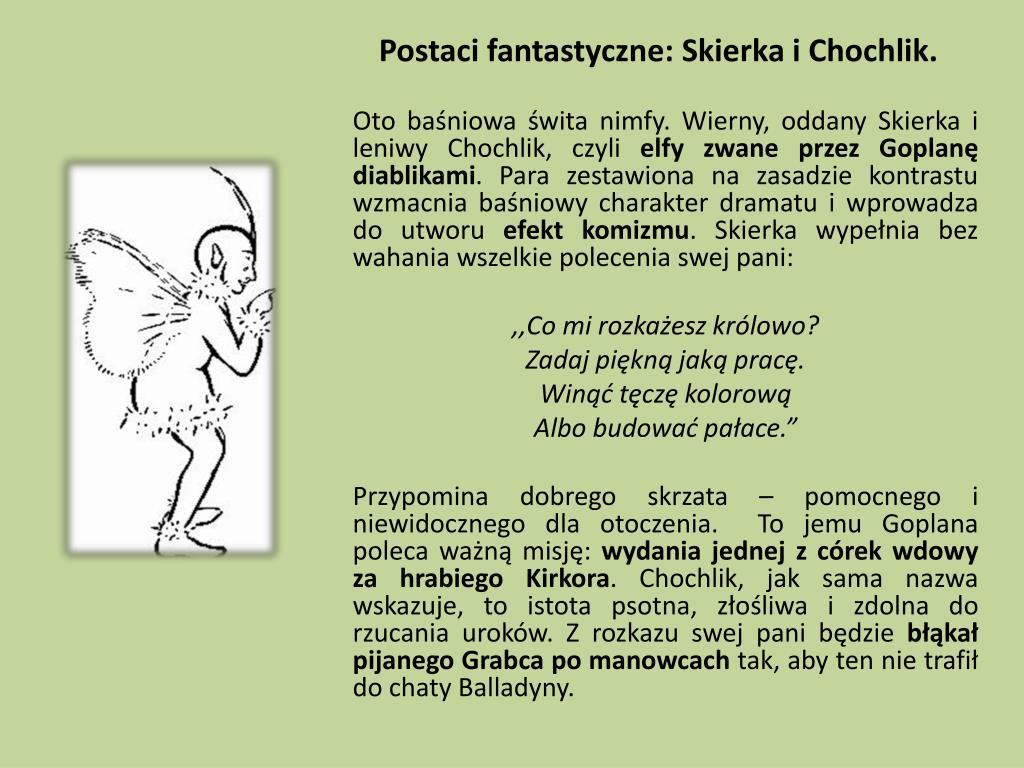 Postaci fantastyczne: Skierka i Chochlik.
