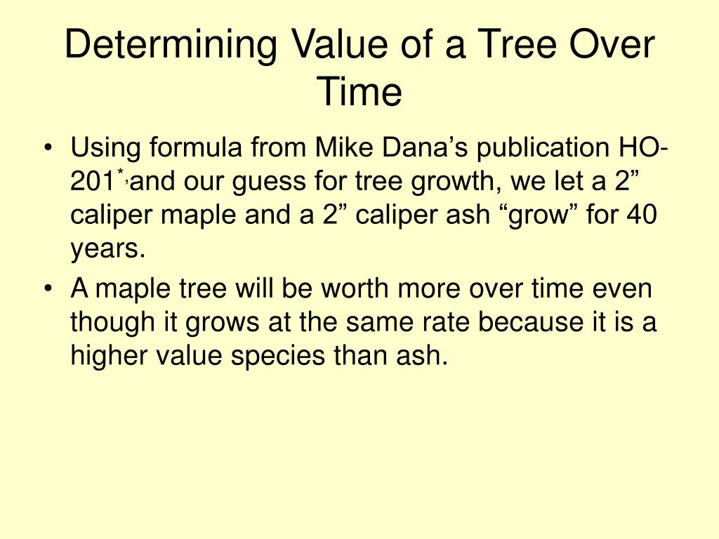 Determining Value of a Tree Over Time