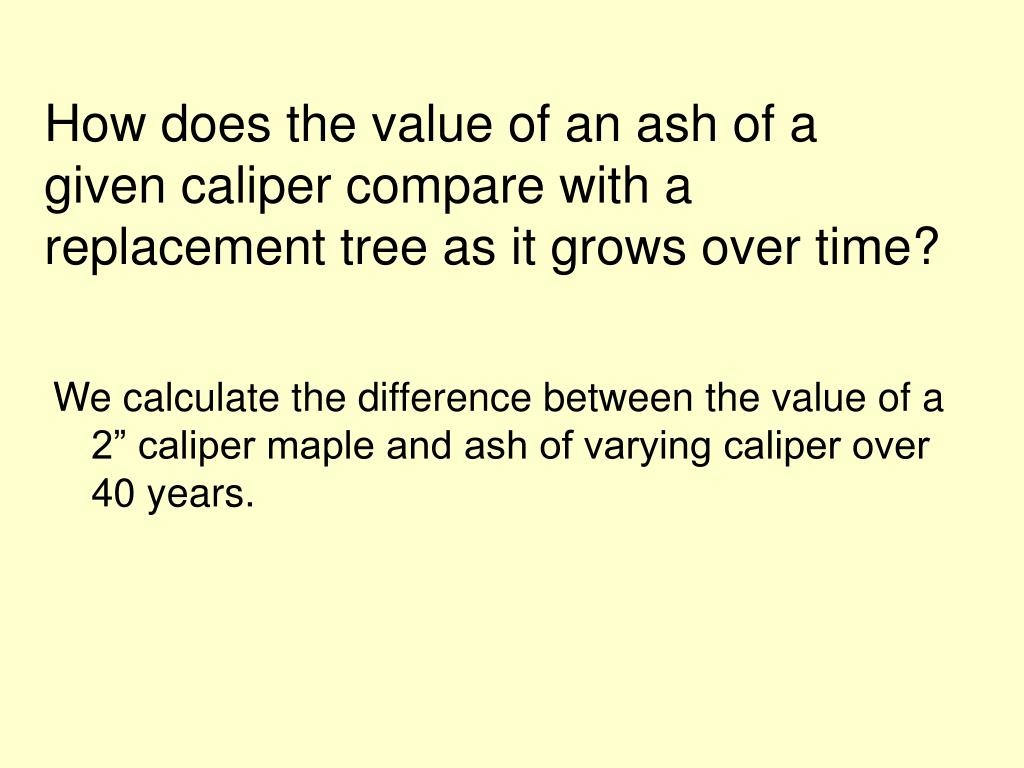 How does the value of an ash of a given caliper compare with a replacement tree as it grows over time?