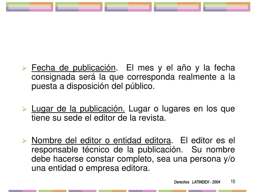 Fecha de publicación