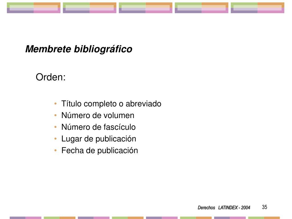 Membrete bibliográfico