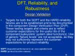 dft reliability and robustness design validation