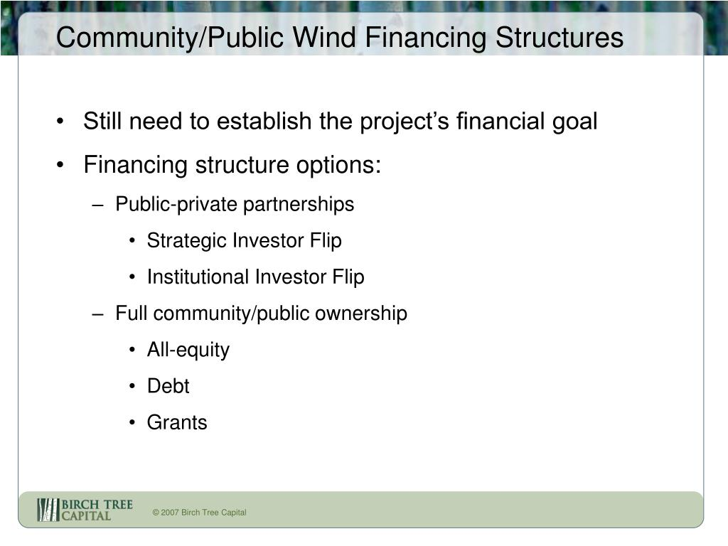 Community/Public Wind Financing Structures