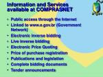 information and services available at comprasnet