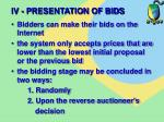iv presentation of bids