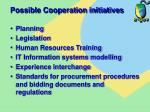 possible cooperation initiatives