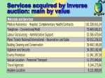 services acquired by inverse auction main by value