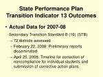 state performance plan transition indicator 13 outcomes
