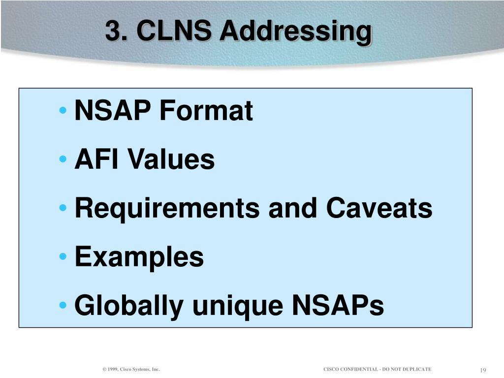 3. CLNS Addressing