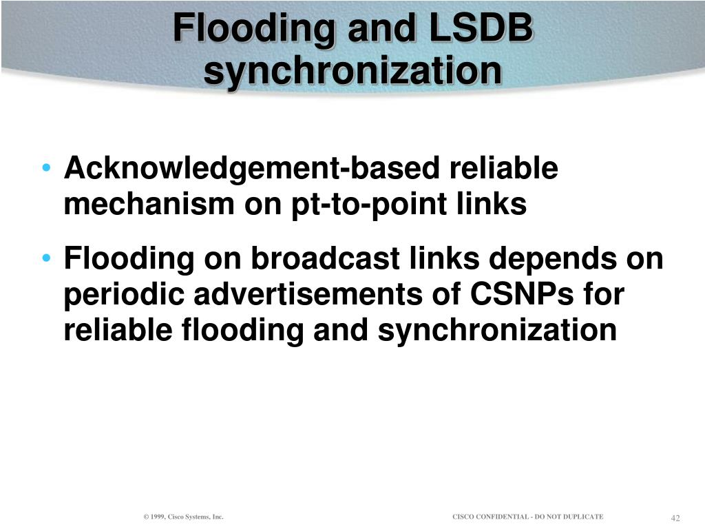 Flooding and LSDB synchronization