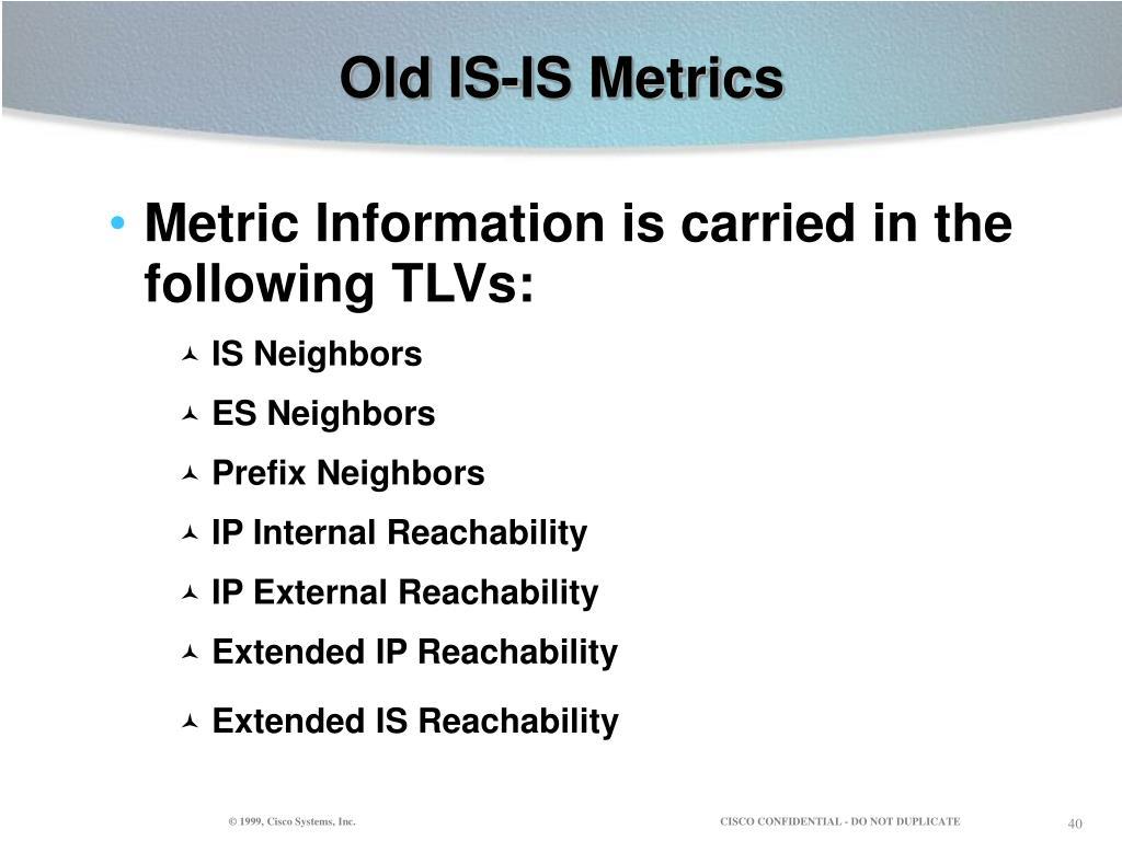 Old IS-IS Metrics