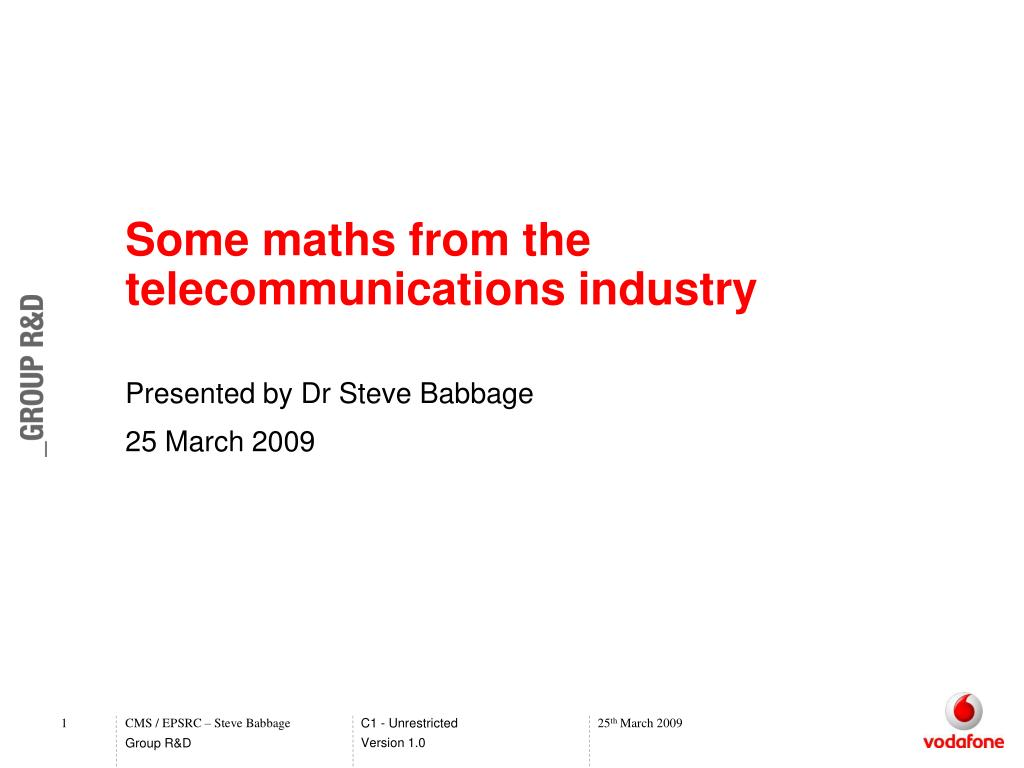 presented by dr steve babbage 25 march 2009
