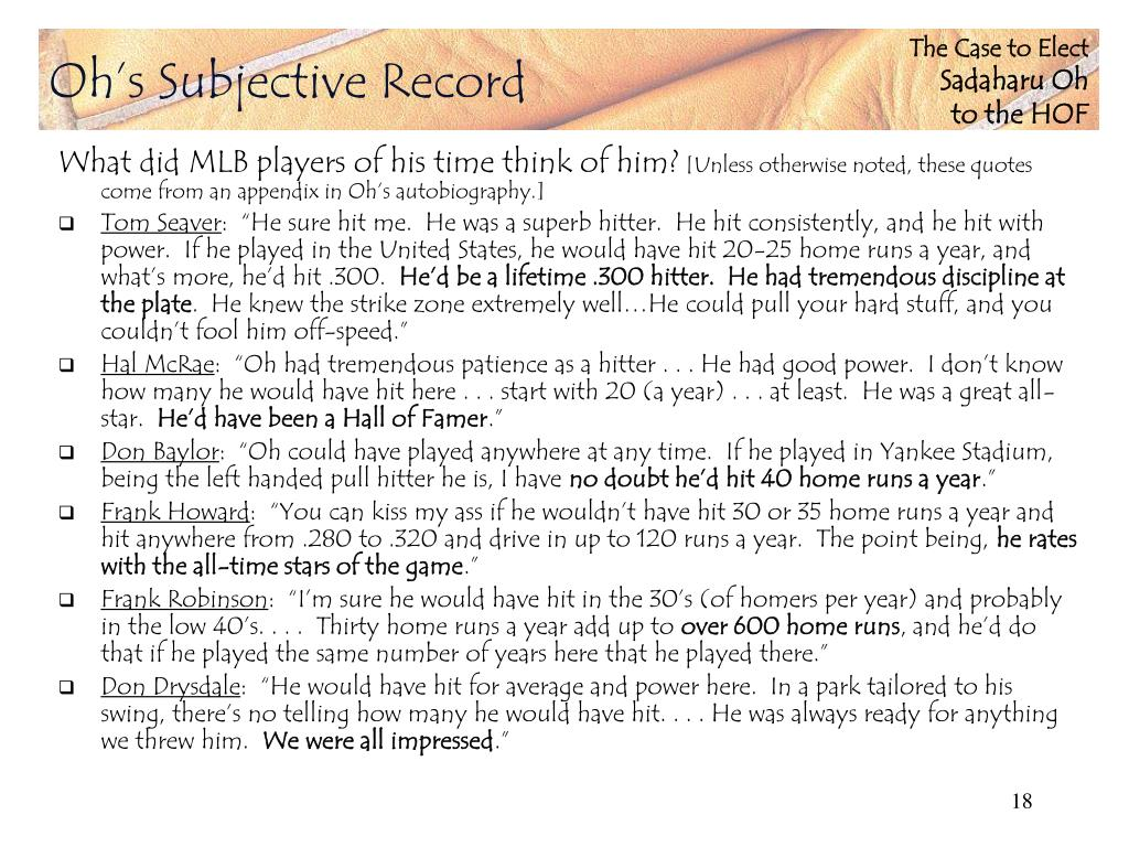 Oh's Subjective Record