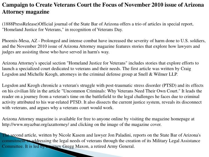 Campaign to Create Veterans Court the Focus of November 2010 issue of Arizona Attorney magazine