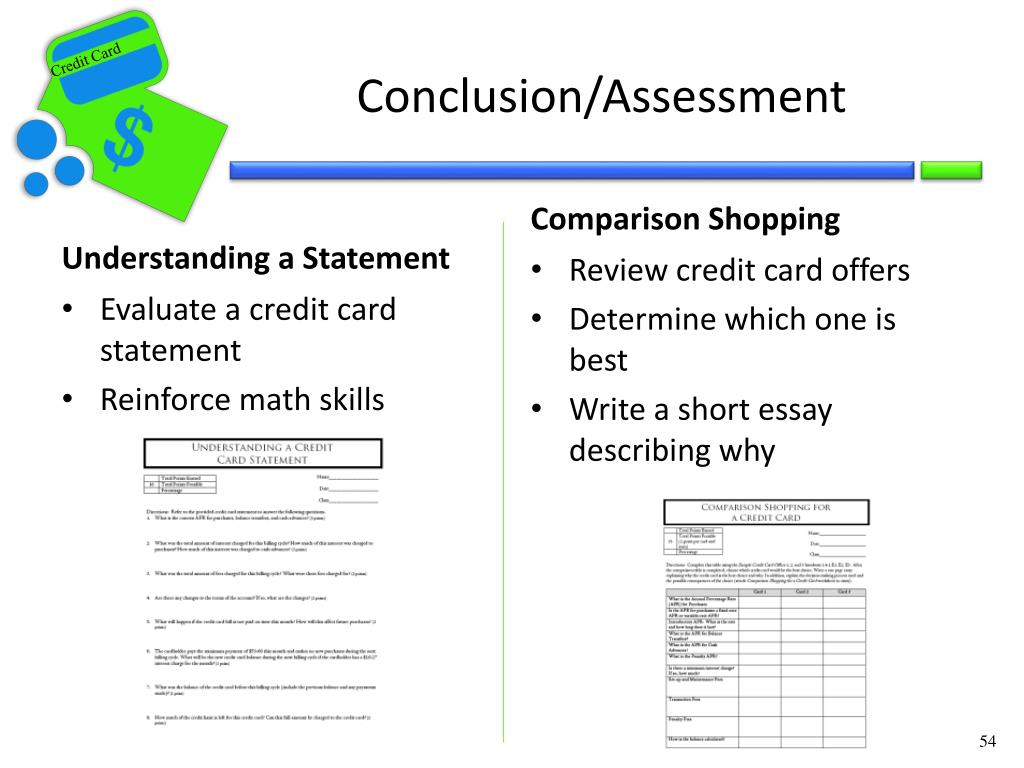 Conclusion/Assessment