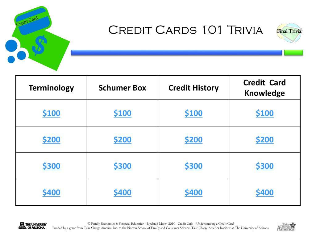 Credit Cards 101 Trivia