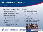 fefe national training june 27 30 2011