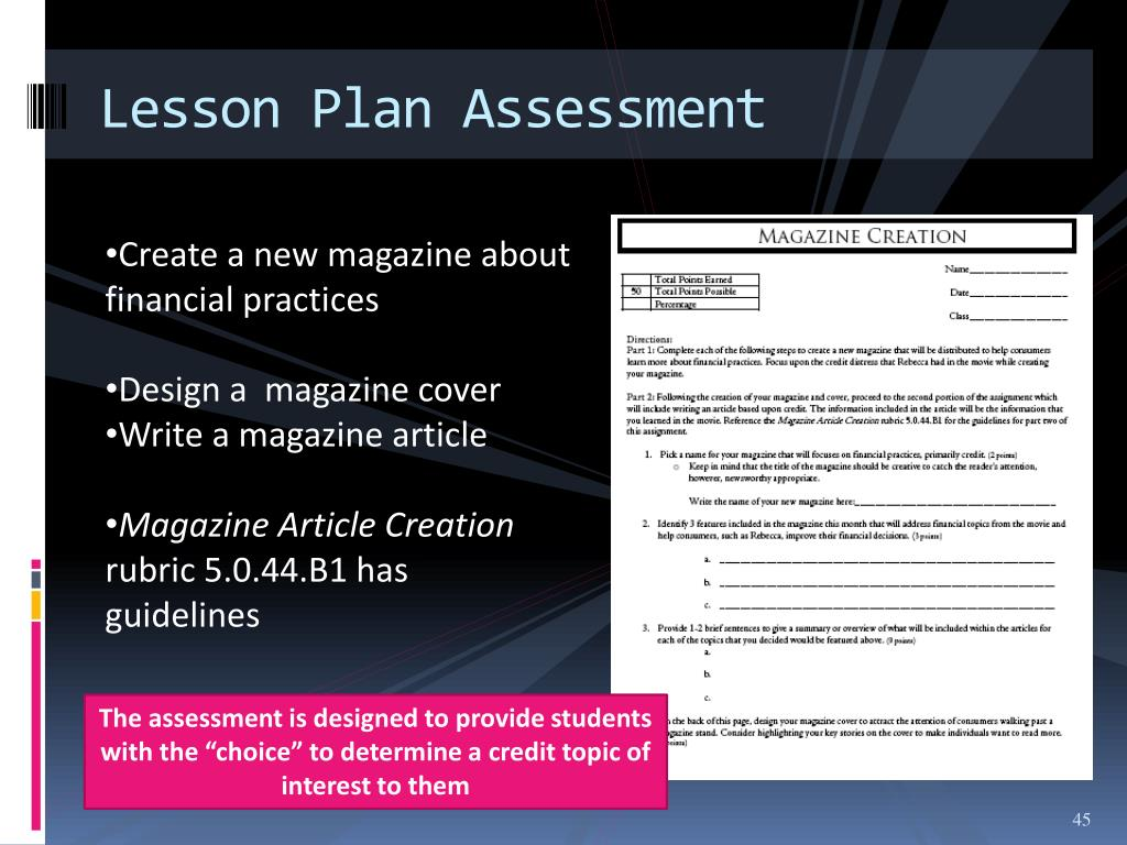 Lesson Plan Assessment
