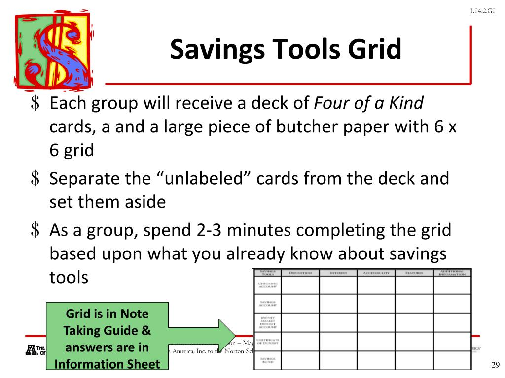 Savings Tools Grid
