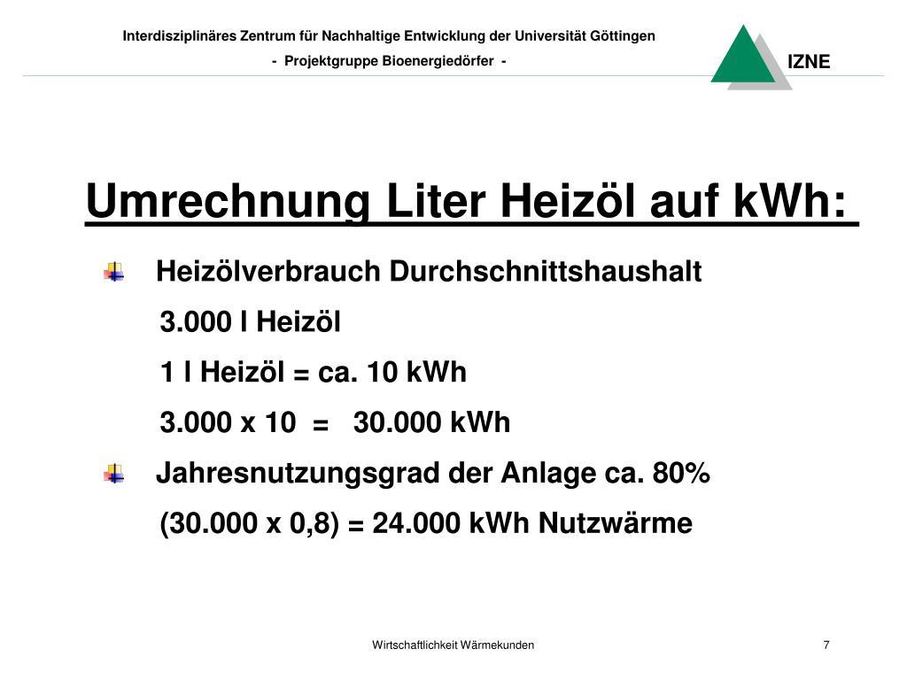 Umrechnung Liter Heizöl auf kWh: