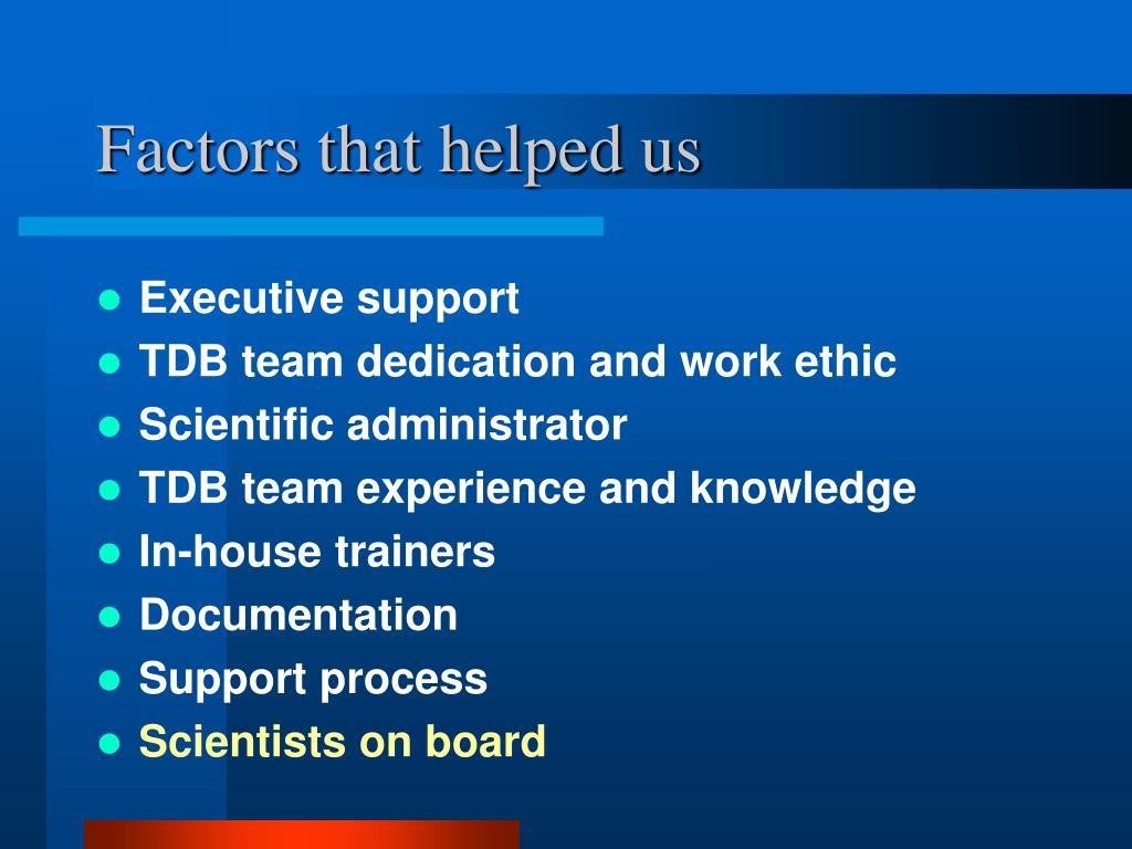Factors that helped us