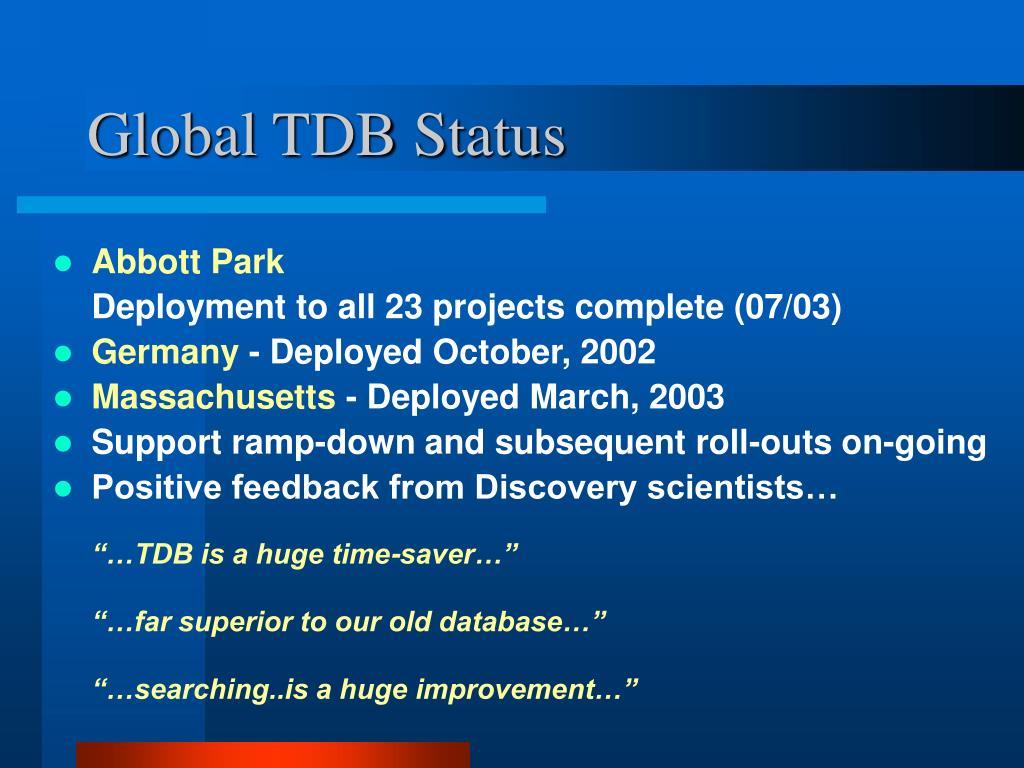 Global TDB Status