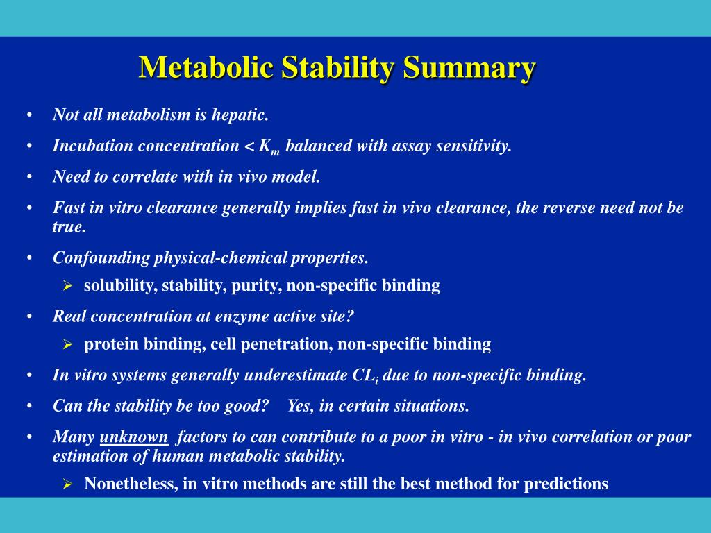 Metabolic Stability Summary