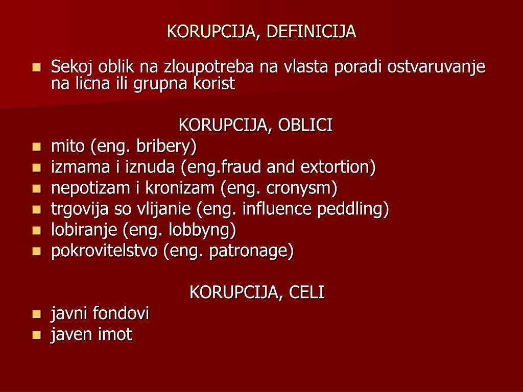 KORUPCIJA, DEFINICIJA