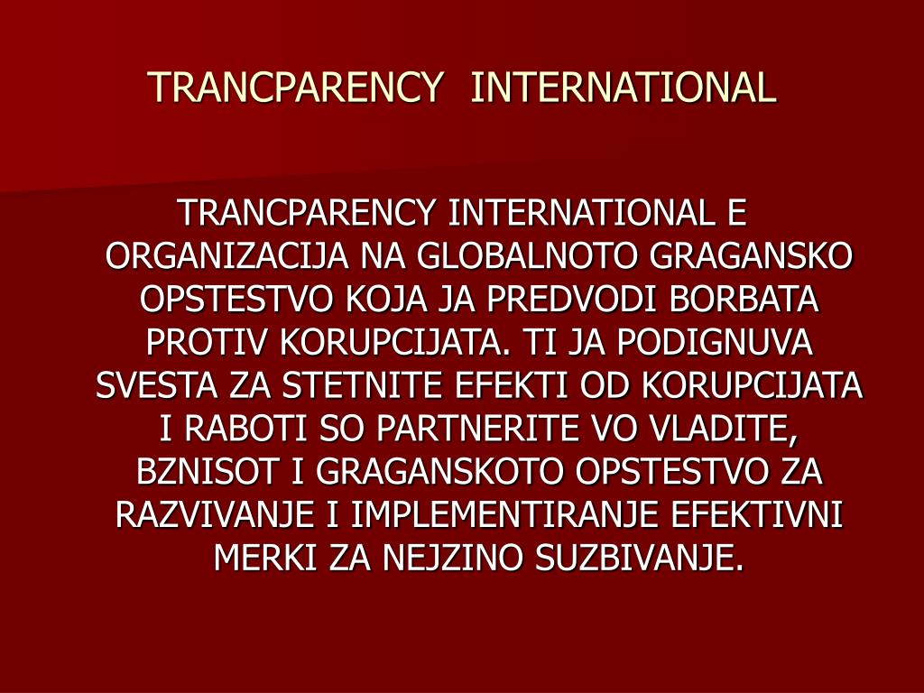TRANCPARENCY  INTERNATIONAL