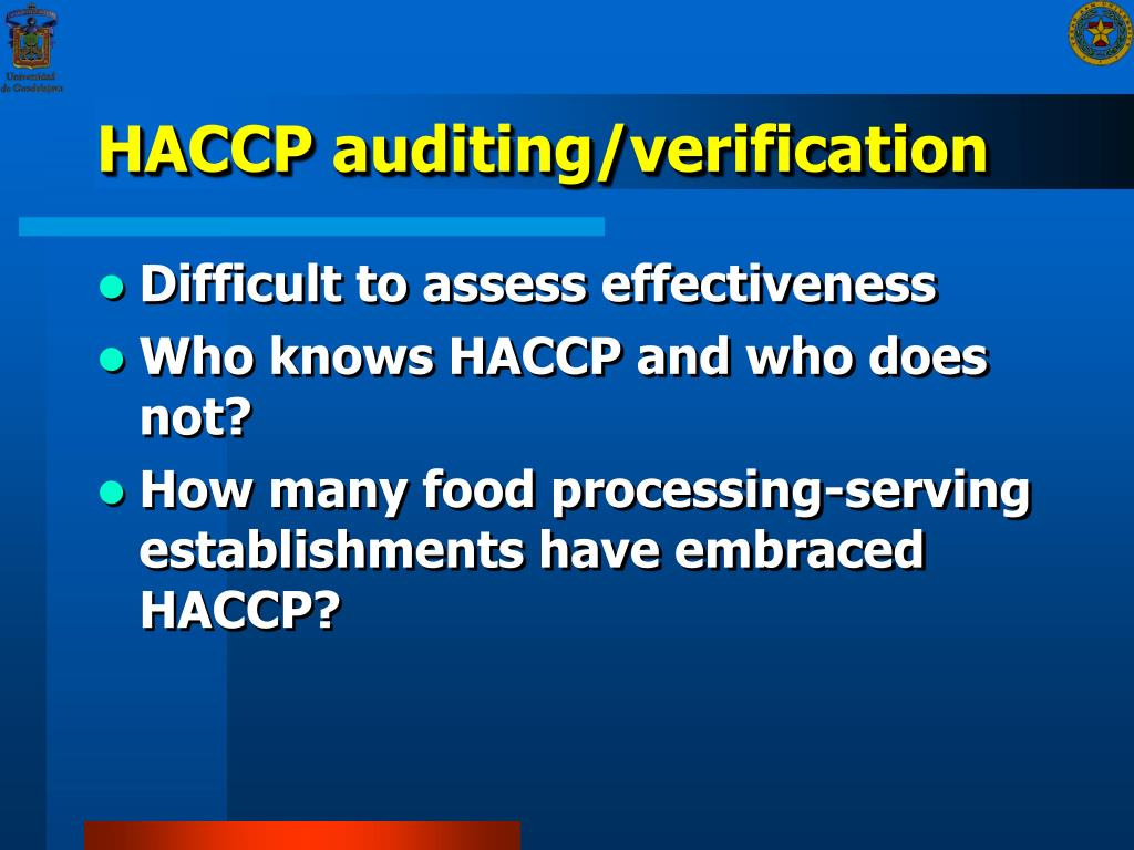 HACCP auditing/verification