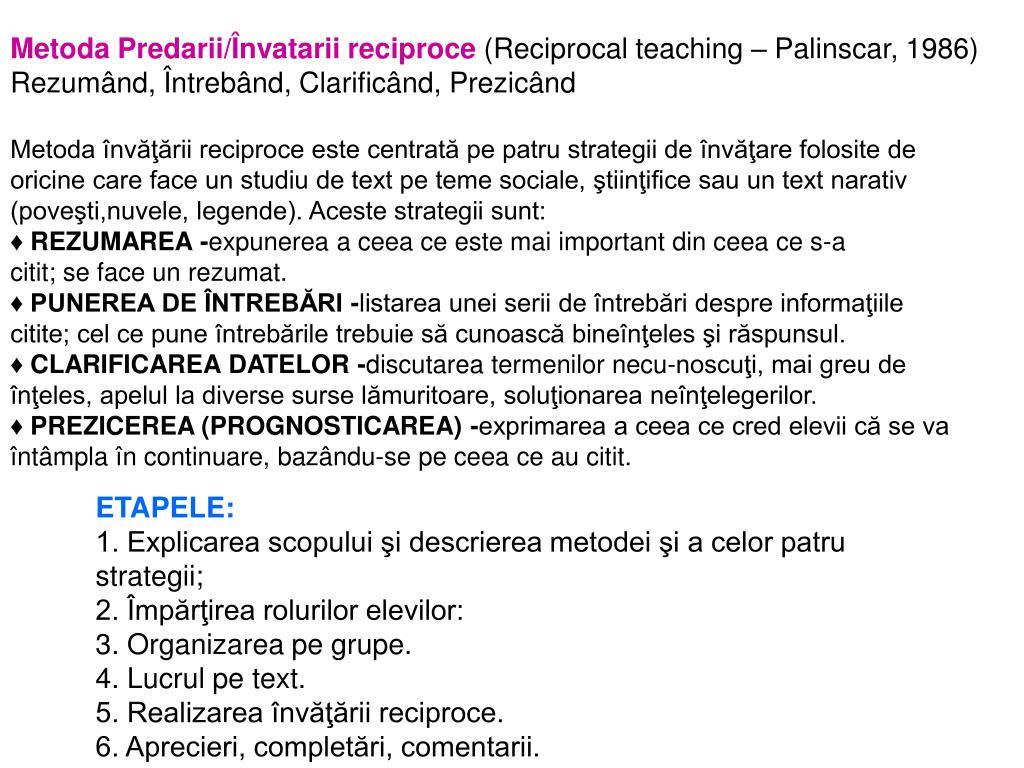 Metoda Predarii/Învatarii reciproce