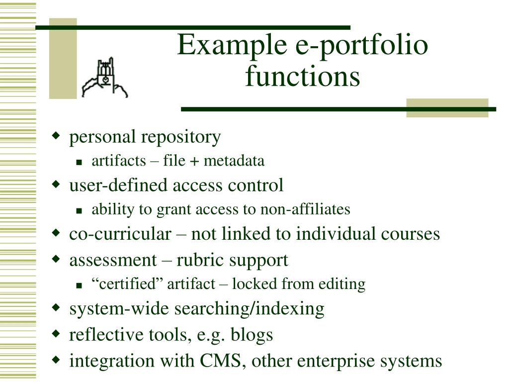 Example e-portfolio functions