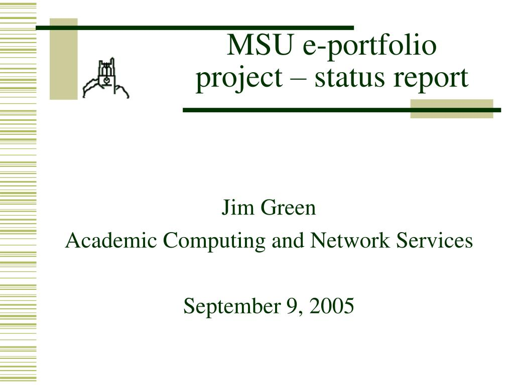 MSU e-portfolio project – status report