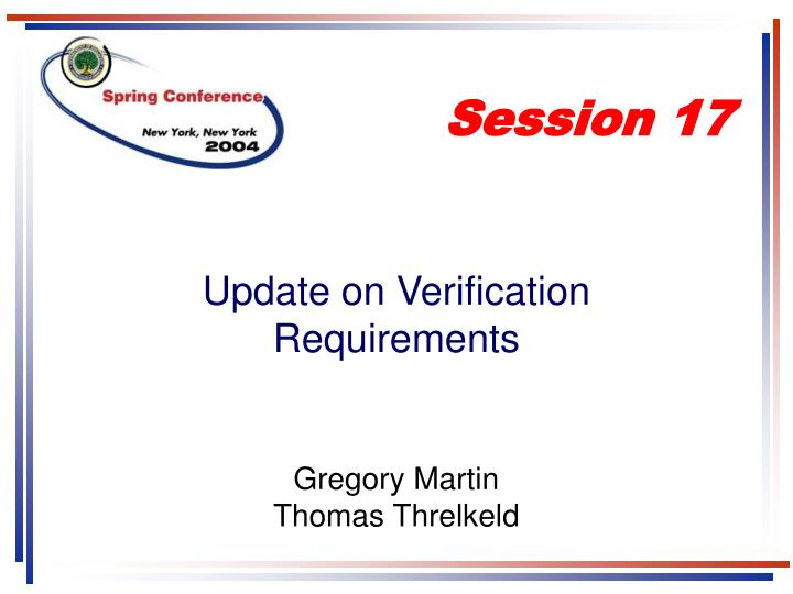 Update on verification requirements